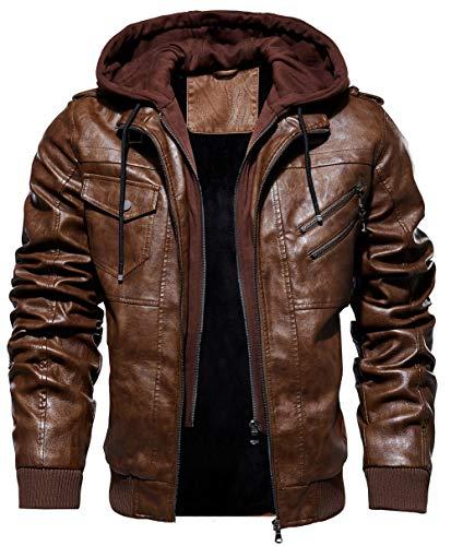 JIINN Hommes L'Automne Et l'hiver Blousons avec Amovible À Capuche PU Cuir Manteau Parka Bomber Aviateur Veste Men Leather Jacket (X-Large, Brown)
