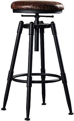 XLJBYD American Country Loft Lift Rotate bar Chair, bar Chair Padded bar Chair Cafe High