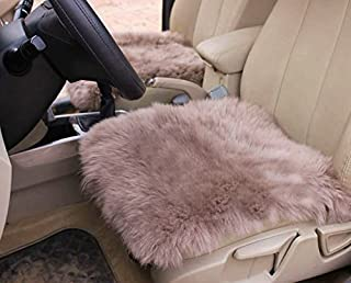Altopcar Wool Car Seat Cushions, Soft Square Sheepskin Seat Cover Pad Fluffy Chair Cover Area Rug Universal for Auto, Home, Office (18 inch x 18 inch) (tan)