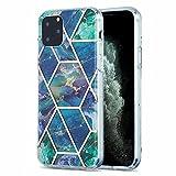 Lijc Compatible con Funda iPhone 11 Pro Galvanoplastia Mármol de Mosaico IMD de Doble Cara [Protector de Pantalla Gratis] Dura TPU Silicona Parachoques Antigolpes Caso-Azul-Verde