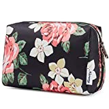 Large Makeup Bag Zipper Pouch Travel Cosmetic Organizer for Women and Girls (Large, Black Flower)