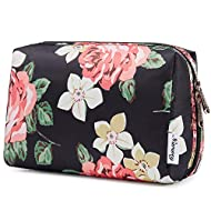 Large Makeup Bag Zipper Pouch Travel Cosmetic Organizer for Women and Girls (Black Peony, Large)