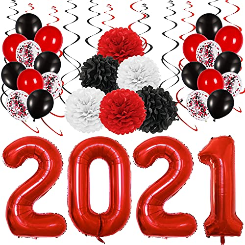 Adurself 2021 Graduation Party Decoration Kit, 40 inch Red 2021 Foil Balloons Red Black White Hanging Swirls Tissue Paper Pompoms and Latex Balloons for Congrats High School College Graduation Party