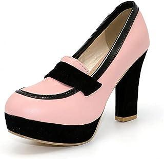 Womens Platform Pull On Chunky Heel Pumps Shoes Square Toe Block High Heels