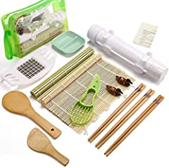 ✅15 Pieces - this is the most practical sushi kit on the market with 1 sushi bazooka, 1 cucumber cutter, 1 clear storage bag, 2 sushi rolling mats, 3 pairs of chopsticks, 1 rice spreader, 1 rice paddle, 2 chopstick holder, 1 dipping plate, 1 avocado ...
