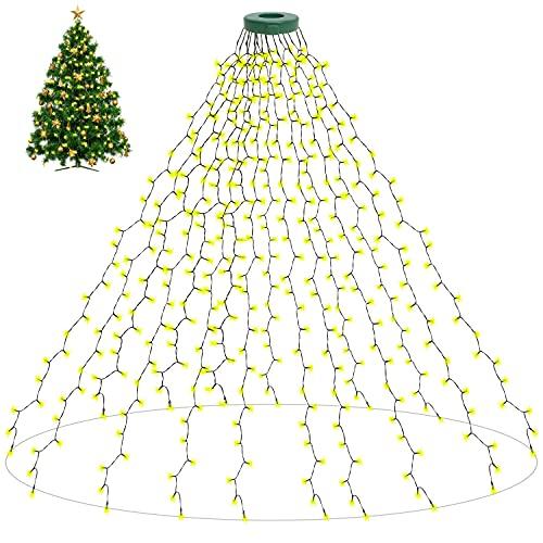 400 LEDs Luces de Hadas para el Arbol de Navidad, aneeway Luces de Arbol de Navidad con 8 Modos, Guirnalda Luminosa Decoración con Enchufe Europeo, Fiesta, Navidad, Decoración, Boda, Blanco Cálido