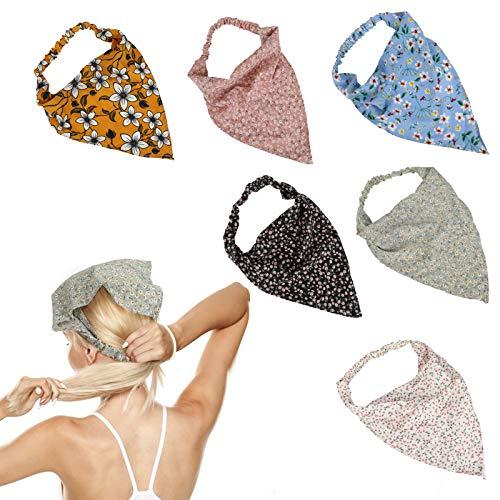 E-More 6 diademas de bufanda de pelo elástico floral, pañuelo de gasa suave para el pelo de las mujeres, bufandas de cabeza triángulo floral con clips de pelo, diadema de pañuelo fino, bandanas