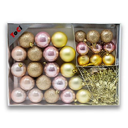 ToCi Kerstboomversiering set | 32-delig met kerstballen sterren Lametta Deco Ketting | Kerstmis boomversiering hanger | mooie kerstboomversiering in een leuke kleurkeuze