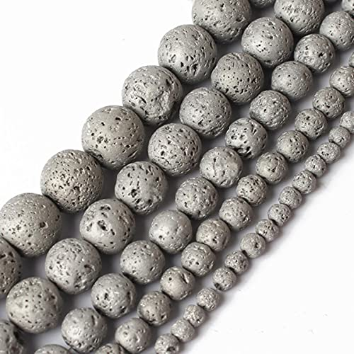 4/6/8/10/12mm Natural Black Volcanic Lava Stone Round Beads 15.5' Pick Size for Jewelry Making DIY Bracelert-Plated Color 04,6mm 63pcs Beads