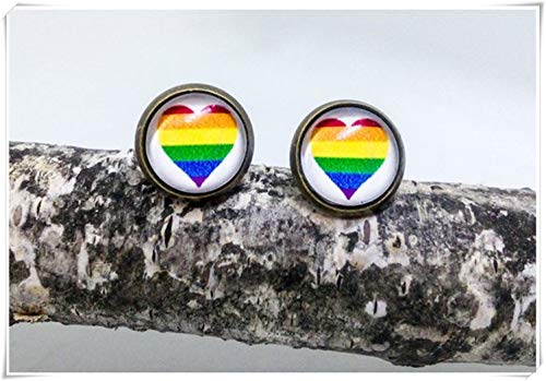 Pendientes de corazón arcoíris, pendientes arcoíris, bronce o plata, pendientes de rayas arco iris