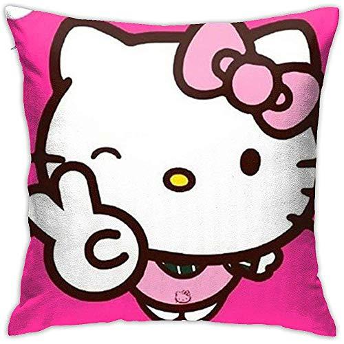 Fundas de cojín Hello Kitty Winking Yeah Gesture-Square Shape Funda de cojín Decorativa para sofá Sofá Juego de Almohadas