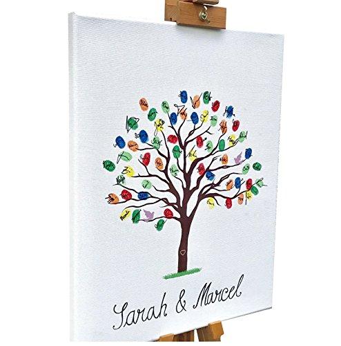 KATINGA Leinwand zur Hochzeit - Motiv Baum BLANKO, zum Selbstbeschriften - als Gästebuch für Fingerabdrücke (40 x 50 cm)