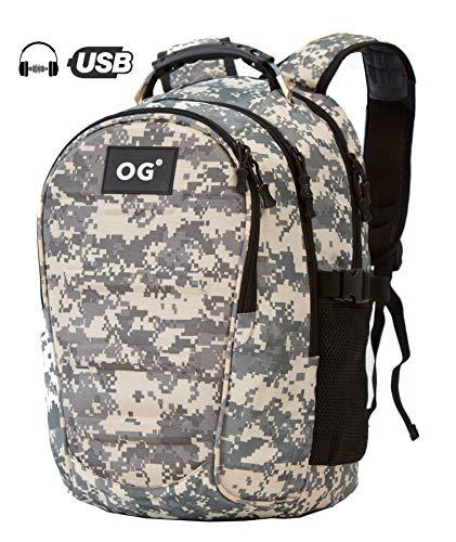 OG Online&Go Militaire Rugtas Leger Camouflage Rugzak, Heren, Waterdicht 40L, USB, Laptop, Kamperen, Wandelen, Fietsen, Reizen (Grijs)