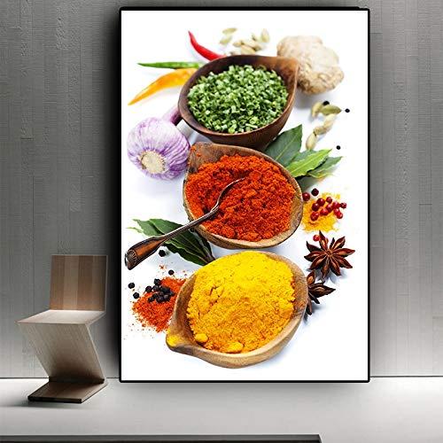 HGlSG Körner Gewürze Paprika Löffel Kochen Leinwand Malerei Cuadros Poster und Drucke Küche Wandkunst Essen Home Dekoratives Wandbild A2 60x80cm