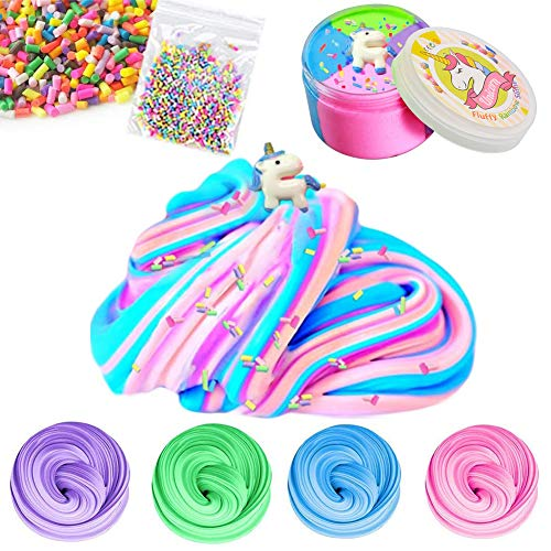 SWZY Fluffy Unicorn Slime - 4 Colour Jumbo Floam Cloud Colorful Rainbow Slime Stress Relief Toy for Kids And Adults, 7 OZ