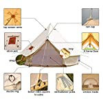 TentHome 4-Season Waterproof Cotton Bell Tent With Stove Hole on Roof Glamping Tent for Camping Travel Christmas Party