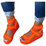 ZYAPCNGN Sandals for Women Platform Sandals for Women s Open Toe Ankel Strap Flats Comfortable Beach Shoes Wedge Sandals Orange