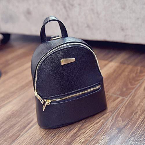 BACKPP Women's Travel Bag Mini Leather Backpack with Shoulder Strap School Travel Backpack 2019 New, Black (Black) - BACKPP 2019