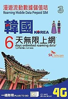 Three 韓国 プリペイド SIM カード / 6日 / 6GB 4G/LTEデータ(超えると128kbpsスピードでSNSのメッセージなど利用可能)/ 基本設定なし(モバイルデータとローミングをオンにするだけ) / Three Korea Prepaid Data SIM / 6days / 6GB 4G/LTE data / no APN Setting (just turn on Mobile data and roaming)