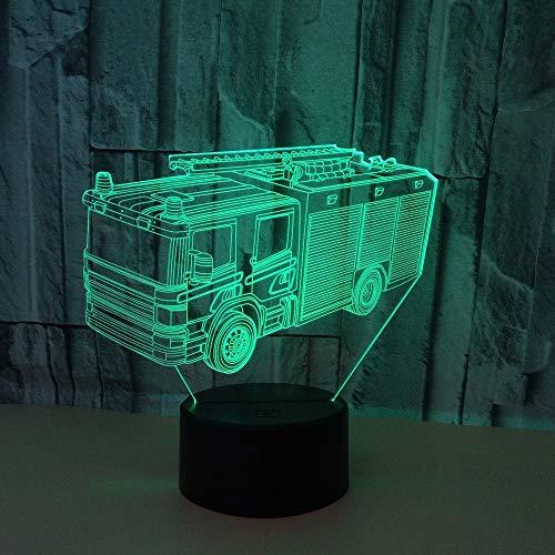 3D Veilleuse Style De Camion De Pompier Led Lumière De Nuit Usb Acrylique Lampe De Chevet Avec 16 Couleurs Décoration Pour Chambre De Bébé Enfant Cadeau De Noël Fête Anniversaire