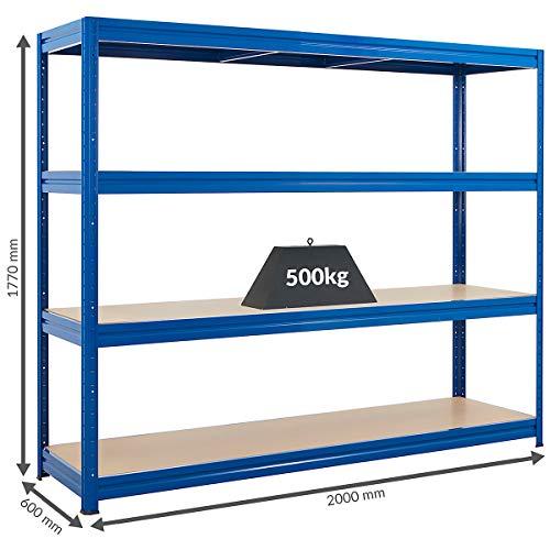Stabiles Schwerlastregal | Tragkraft bis zu 500 Kg pro Fachboden | 1770 x 2000 x 600 mm | Kellerregal Stahlregal Garagenregal Lagerregal | Blau