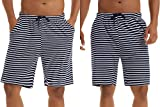 Irevial 2 Piezas Pantalones Cortos de Pijama Hombre Fresco Verano,Algodon Raya Elástico Ajustable Cintura Cómodo Pantalón de Dormir con Bolsillo, para Dormitorio, Vacaciones, Deporte, Salir