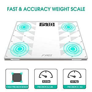 Digital Body Weight Scale, Bathroom Scale with Large Anti-Slip Matte Weighing Platform Lighted LCD Display Shatter-Resistant Tempered Glass, 400 Pounds Max, Included Body Tape Measure