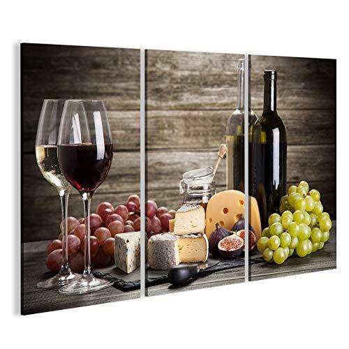 islandburner Bild Bilder auf Leinwand Wein und Käse Stillleben Wandbild, Poster, Leinwandbild EYD-2