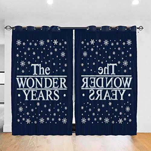 HONGYANW Verdunkelungsvorhänge The Wonder Years Christmas Ice Grommet Thermo-Isolierender Vorhang für Schlafzimmer, Wohnzimmer, 132,2 x 182,9 cm, 2 Paneele