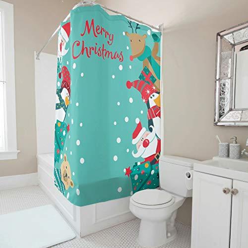 O2ECH-8 Frohe Kerstmis 3 patroon gedrukt douchegordijn luxe versterkte knoopsgaten badkuipgordijnen set met haken - voor volwassenen en kinderbadkamer