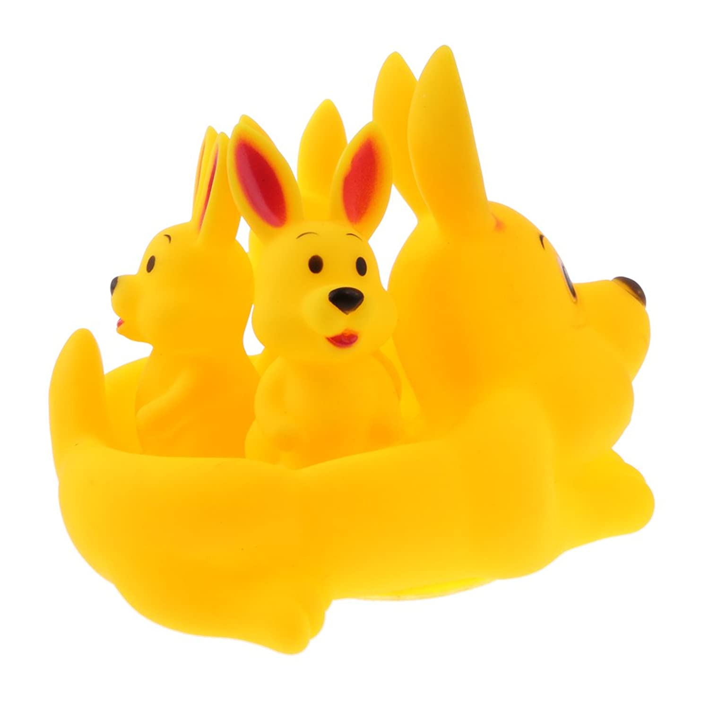 Blesiya 可愛い ウサギ様子 安全ゴム製 浮遊動物模型 フローティングバスおもちゃ 4点入り