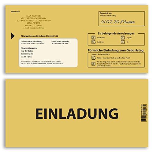 (10 x) Einladungskarten Geburtstag Mahnbescheid förmliche Zustellung Einladungen