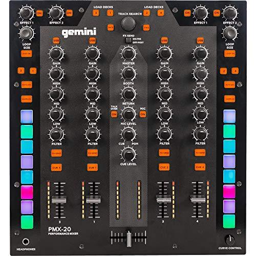Gemini PMX-20 - Mezclador DJ de 4 canales con interfaz MIDI y 4 In/4...