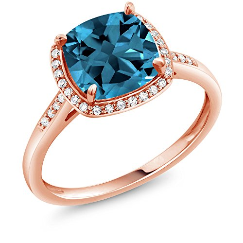 Gem Stone King 10K Rose Gold London Blue Topaz and Diamond Accent Women Engagement Ring (2.74 Ct Cushion, Available 5,6,7,8,9) (Size 9)