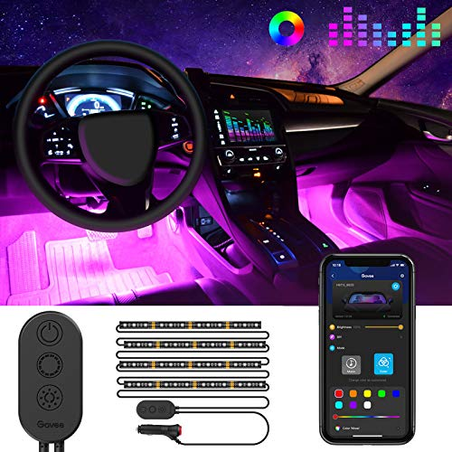 Striscia LED Auto con APP, Govee Luci LED Interne per Auto con 48 LEDs 9 Colori Multicolore Impermeabile, Musica sotto il cruscotto Kit di illuminazione, Controllo APP, DC 12V