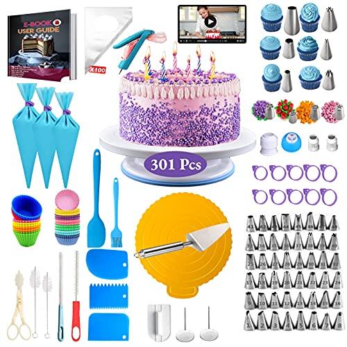VLVEE Decorazione Torta Set, 301pcs di Utensili da Decorazione per Torte della Pasticceria, Decorazioni Torte Pasticceria per Cupcake Dolci Torta