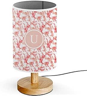 [ INITIAL LETTER U ] Monogram Name USB POWERED Wood Base Desk Table Bedside Lamp [ Camouflage ]