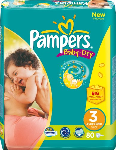 PAMPERS Baby Dry envase Talla 34–9kg/80unidades)