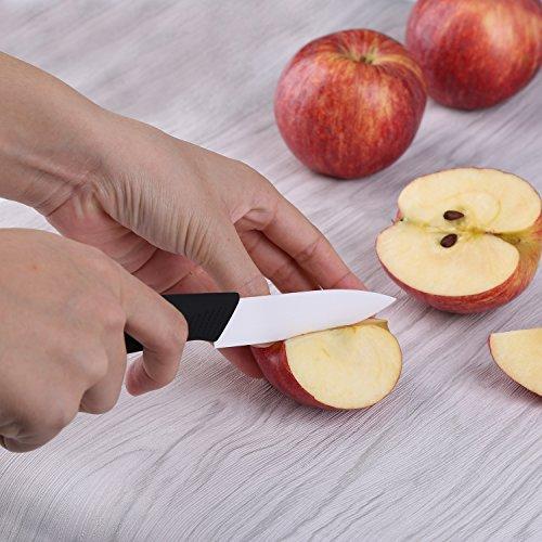 Set di coltelli in ceramica, Ballery 4 Coltelli Ceramica e 1 Pelapatate (6'' Coltello da Cucina, 5'' Coltello Multiuso, 4'' Coltello da Frutta, 3'' Coltello di Sbucciatura) affilato e leggero - bianca