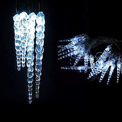 XMASKING Guirlande Lumineuse d'extérieure 8 m, 40 Stalactites Ø 18 mm, LED Bleu, 24V lumière Fixe, câble Vert