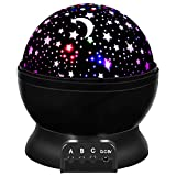 SnowCinda Star Projector Light Toys for 2-8 Year Old Child, 360 Degree Rotation and 8 Color Light Changing, Romantic Moon Star Projector with USB Cable, Best Gift for Baby Kids Birthday (Black)