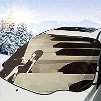 車フロント 車用 サンシェード ピアノのアニメの女の子 車のフロントガラス 日よけ 遮光 断熱 日焼け防止 防紫外線 暑さ対策 吸盤取付 四季用 車内温度対策 防水材料 147x118cm