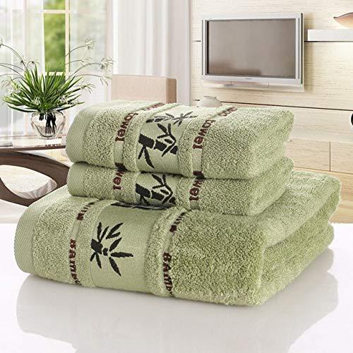 MAWA Juego de Toallas de Fibra de bambú, Toalla de baño para el hogar para Adultos, Toalla para Lavar la Cara, Toalla de baño de Lujo Absorbente Gruesa, Verde, 2pc34x75-1pc70x140
