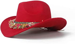 WUNONG-AU 2019 Men's and Women's Authentic Western Cowboy hat, Fashion hat Leather Belt Cap, Jazz hat, roll-up hat, Wide hat, Jazz hat (Color : Red, Size : 56-58)