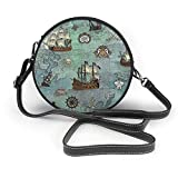 naotaori Bolso redondo mujer Women's Round PU Leather Crossbody Satchel Shoulder Handbag Pirate Map Themed Circle Tote Shopping Bag For Girls Sling Bag