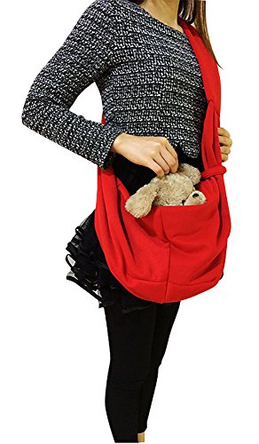 Tiger Mama Reversible Pet Sling Carrier for Pets Up to 12+ lbs (Red) 6