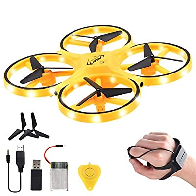 UFO Drone Flying Toy Hand Controlled for Kids, RC Smart Watch Quadcopter, Gravity Induction Gesture Control Drone 360° Rotating with LED Lighting Helicopter 2.4G for Adults Flight Time 16Mi