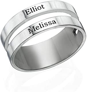 MyNameNecklace Personalized Ring with Engraved Two Names- 2 Words Custom Jewelry