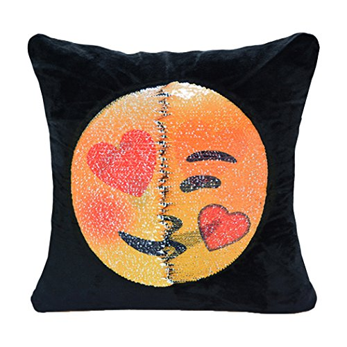 Decorative Throw Pillow Soft Velvet Square Magic Reversible Flip Sequin Emoji Throw Cushion Funny Gifts 16 X 16 Inch(Showing Love and Joy)