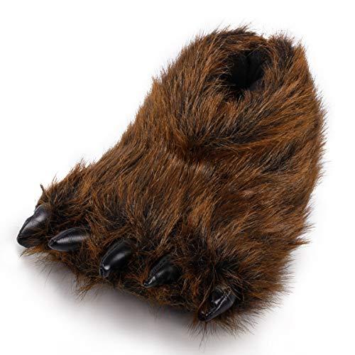 Zapatillas de pata de oso borroso de peluche con garra de animales divertidos disfraces para adolescentes y adultos, color Marrón, talla 37/38 EU